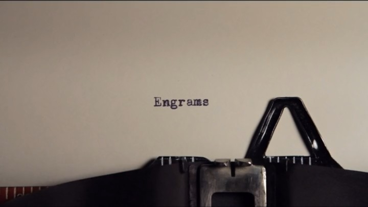 "Going Clear: Typewriter showing the word ""Engrams"""